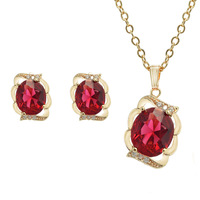 ALILEE NEW Arrival Necklaces + Earrings Set Women Fashion 2013 Rose Gold Copper Swiss Zircon Red Navy Blue Free Shipping LN-0019