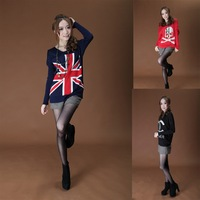 M-XL!!2013 Summer-Autumn New fashion Women&Ladies Long sleeve cardigan- UK Flag sweater/Female casual V-neck  Pullover Flag coat