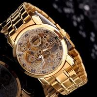 Free Shipping Automatic Mens Golden Skeleton Mechanical Watch Sport Wrist Watch Xmas Gfit