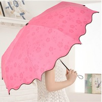 Free shipping !!!  wet umbrella shows pattern  black gummed sun protection anti-uv umbrella