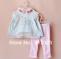 2014 New baby girls clothing set for summer autumn children 3 pcs suits shirt+pant+headband sport suit baby clothes good quality