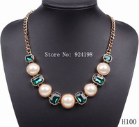 Minimum order $15 2014 fashion crystal  pearl necklace gold chain jewelry for women free shipping