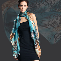 2013 New Design Women Leopard Print Pure Silk Scarf,180*110cm Brand Mulberry Silk Design Long scarf Wraps For Autumn,Winter