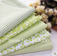 7pcs/lot 40x50cm Light green 100% cotton patchwork quilt fabric set home textile sewing material for DIY crafts pastoral
