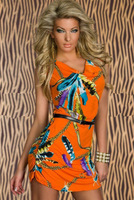Free Shipping 2013 HOT SALE Women Fashion Feather Print Vintage Mini Dress with Sashes Y123