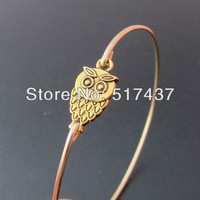 Free shipping!!! 6pcs  High Quality Jewelry Gold Owl Charm Bangle Bracelet Jewelry