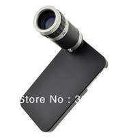 Free Shipping 8X18 Optical Zoom Lens Mobile Phone Telescope for iPhone 4G/4S With Black Hard Back Case