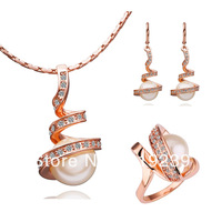 LS059 Fasion 18K Rose Gold Plated Items Crystal & Imitation Pearl Pendant Necklace Earring Ring Women's Jewelry Sets Accessories