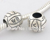 Volleyball 925 sterling silver jewelry bracelet necklace loose beads DIY accessories wholesale