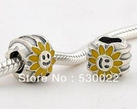 Sunflower Enamel 925 sterling silver jewelry bracelet necklace loose beads DIY accessories wholesale