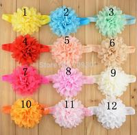 "4.0"" chiffon flower headbands vintage chiffon flower with elastic headbands 10 colors 40pcs/lot"