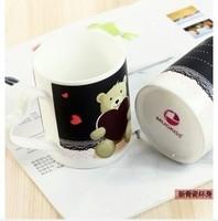 Cute cartoon little bear DIY black-white color changing mugs ceramic mug couple cup with handgrip,300-400ml drink water milk cup