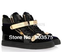 ON SALE 2014 fashion brand GENUINE LEATHER SUEDE zipper high tops women men leisure black gold metal sneakers shoes Eu35-46
