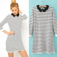 CY0197 freeshipping new 2013 turen-down striped sweater dress warm women knitted sweater warm dresses winter for women wholesale