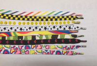 EMS Free Shipping 60pairs/lot Mixed Color Design Cotton Fabric Printed Shoelace 45inch SH7