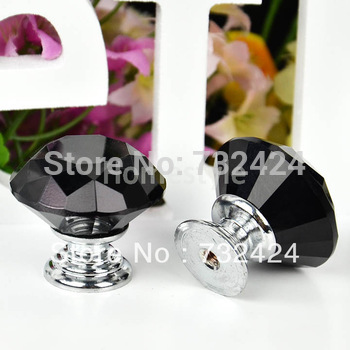 2013 New 5Pcs Glass Crystal Cabinet Drawer Furniture Knob Kitchen Pull Handle Door Wardrobe Hardware 30mm Black TK0980
