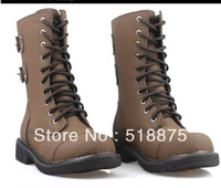 FREE SHOPING 2013 Fasion Genuine leathe motorcycle boots black Cowhide martin boots boot military for men