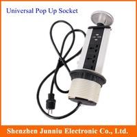 Hot Aluminium Alloy Shell Tensile Type Universal Desktop Socket Plug with 2 USB Port and LED Indicator Free Shipping