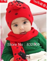 Free Shipping!2013 Fasion Cartoon Ladybird Baby winter infant Hat&Scarf for kids/Headwear Cute Beetle for Children Baby Beanie