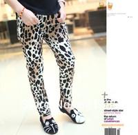 2014 spring autumn fall cute children clothing cartoon animal print leopard velvet slight thick girls trousers pants 6-14