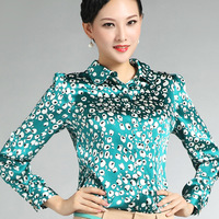 2014 autumn plus size formal all-match  silk shirt female long-sleeve top
