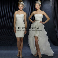Detachable Pleated Organza Sweep Train, Sweetheart Neck Lace Sheath Above Knee Short Wedding Dress, Zipper Short Bridal Gown Set