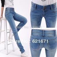 2014 Vintage Casual Fashion Single-breasted Slim High Waist Jeans Women Denim Skinny Pencil Pants S/M/L/XL/2XL/3XL/4XL Plus Size