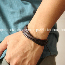 Cool Fashion vintage Genuine Leather Men Woman hand-rope strap casual leather bracelet(China (Mainland))