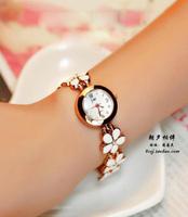 Beautiful ladies bracelet watch white flower luxury  women fashion wristwatches hot sale free shipping