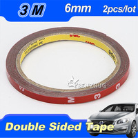 2pcs/lot 3M 6mm Automotive Vehicle Double Sided Sticker Car  Adhesive Acrylic Foam Tape Trim Free Shipping