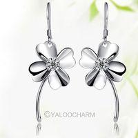 925 Sterling Silver four Leaves Clover Earring Ear Stud Jewelry For Women 261885