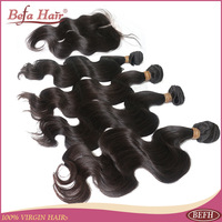 6A Body wave peruvian virgin hair closure and bundles 3 weft with 1 closure medium brown swiss lace centural part bleached knots