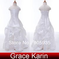 Free Shipping!High Quality Princess GK Taffeta Flower Girl New Bridal Bridesmaid Wedding Pageant Party Long Dress White CL4492