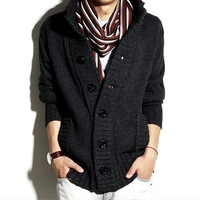Men's clothing autumn and winter men stand collar thick sweater men sweater cardigan outerwear