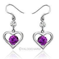 A pair of Heart Purple Amethyst Gem Dangle 925 Sterling Silver Earring Ear stud Jewellery  261886