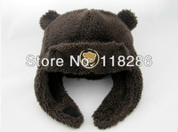 Free Shipping !!! Autumn and winter Cute bear baby hat Newly animal shape trapper hat lovely bear hat and soft kids winter hat