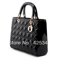 Free shipping 2013 japanned leather fashion plaid women's handbag