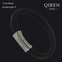 High quality FRANCE 1881 fashion steel snake print polished MEN bangle leather MEN bracelet magnet clasp QR-23