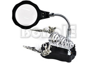 NEW LED 3.5x&12X 3rd Helping Hand Magnifying Soldering IRON STAND Lens Magnifier 1885