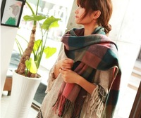 free shipping new 2013 scarf fashion ultra long plaid cape scarf style for women