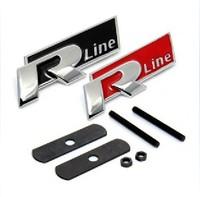 VW GOLF Grille LOGO Rline Sticker Metal Mesh Flag With Screws Red&Black