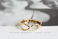 "Fashion Jewelry ""BEST FRIEND"" Engravable Infinity Ring in Solid Wholesale Free shipping."