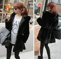 winter new fashion autumn and winter reversible hooded slim waist cotton-padded faux fur coat casaco manteaux abrigo femininas