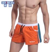 Free shipping SEOBEAN men's fashion color block decoration lounge shorts sport trunks sexy boxer underwear