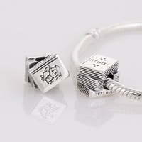 Text Book Genuine 925 Sterling Silver Screw Core Stopper Beads, Suitable for Pandora Bracelet Jewelry DIY Making B56