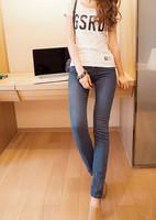 2013 Fashion Mid waist Women Straight Jeans Slim Pencil Skinny Denim Pants