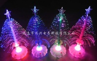 Free Shipping 7Colors Fiber Optic Scintillation Bright Christmas Tree Decoration Shinning Tree Gift Wishing Tree Big 25 cm