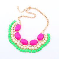 2013 New Designer Dress Chain Gold Alloy Resin Rhinestone Candy Neon Layered Choker Statement Necklace Fashion Jewelry For Women