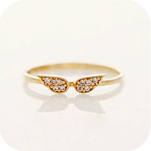 Free Shipping accessories small sparkling rhinestone angle wing ring 2013 female  wholesale
