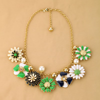 Min.order is $15(mix order) Fashion accessories small fresh flower clusters flower design short necklace  Free Shipping